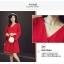 เดรสผ้าโพลีเอสเตอร์ผสมสีแดง แขนยาว ดีไซน์เก๋ที่ปลายแขนเสื้อ แหวกสูงขึ้นมา thumbnail 9