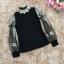 เสื้อผ้าลูกไม้สีดำ แขนยาว แขนเสื้อเป็นผ้าโปร่งปักด้ายสีเหลือบทอง ปักลายดอกไม้ thumbnail 11