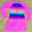 ชุดว่ายน้ำเด็กผู้หญิงสีชมพู ลายสีรุ้ง แขนยาว ข้างในเป็นกางเกงขาสั้น ด้านนอกเป็นกระโปรง มีซิบด้านหน้า thumbnail 1