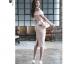 เดรสผ้าโพลีเอสเตอร์ผสมสีชมพู เปิดไหล่ด้านขวา ไหล่ด้านซ้ายแต่งด้วยผ้าผูกเป็นโบว์ thumbnail 14