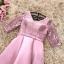 เดรสออกงานสุดหรู ตัวชุดเป็นผ้าไหมสีชมพูเข้ม ดีไซน์คอวี แขนเสื้อเป็นผ้าลูกไม้ยาว 3 ส่วน thumbnail 7