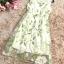 เดรสยาว ผ้าไหมแก้ว organza สีครีม แขนกุด พิมพ์ลายดอกไม้สีขาว เดรสเข้ารูปช่วงเอว thumbnail 18