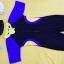 ชุดว่ายน้ำเด็กบอดี้สูท สีดำ แขนน้ำเงิน แถบเหลืองน้ำเงิน แขนสั้น ความยาวแค่เข่า thumbnail 3