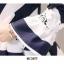 เดรสผ้าคอตตอนผสม ทอเนื้อดี ลายน้ำเงินสลับขาว แขนยาว ปลายแขนระบาย ทีเอวและปลายแขนเสื้อแต่งด้วยผ้าถักโคร thumbnail 16