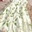 เดรสยาว ผ้าไหมแก้ว organza สีครีม แขนกุด พิมพ์ลายดอกไม้สีขาว เดรสเข้ารูปช่วงเอว thumbnail 17
