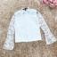 เสื้อผ้าลูกไม้เนื้อนิ่ม แขนยาว สีขาว มีซับในช่วงลำตัว ชายปล่อย มีเสื้อกั๊กแขนกุด คอวี ให้ใส่ทับด้านใน thumbnail 9