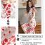 เดรสผ้าลูกไม้ถักพื้นสีขาว ลายดอกไม้สีแดง หน้าอกคาดด้วยผ้าถักโครเชต์สีขาว thumbnail 10