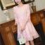เดรสผ้าลูกไม้เนื้อดีสีชมพูโอรส แขนยาวสี่ส่วน ปลายแขนเสื้อ และชายกระโปรง แต่งด้วยผ้าชีไหมแก้วสีชมพูอัด thumbnail 8