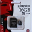 16 GB MICRO SD CARD KINGSTON CLASS 10 thumbnail 1