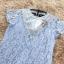 เดรสผ้าลูกไม้เนื้อดีสีฟ้า หน้าอกเสื้อแต่งด้วยผ้าโปร่งซีทรูสีครีมรูปตัววี คาดแถบผ้ายืดเนื้อเงาวิ้ง thumbnail 18