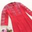 เดรสผ้าโพลีเอสเตอร์สีแดง ทรงตรง เข้ารูปช่วงเอว แต่งไหล่ หน้าอก แขนเสื้อ ด้วยผ้ามุ้งปักด้วยด้ายสีแดง thumbnail 6
