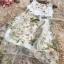 เดรสผ้าไหมแก้ว organza สีขาว ดีไซน์กระโปรงด้านหน้าสั้น หลังยาว มาพร้อมเข็มขัด thumbnail 5