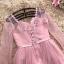 เดรสออกงานสุดหรู ทรงคอวี แขนยาว แขนเสื้อผ้าโปร่ง 2 ชั้น ตัวเสื้อเป็นผ้าซาตินสีชมพู เย็บซ็อนกับผ้าลูกไ thumbnail 9