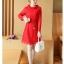 เดรสผ้าลูกไม้เนื้อดี สีแดงแขนยาว ทรงตรง คอเสื้อระบายผ้าลูกไม้ มาพร้อมสายผูกเอวเหมือนแบบ thumbnail 6