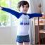 ชุดว่ายน้ำเด็กชายเสื้อแขนยาวสีน้ำเงิน - ขาว กางเกงขาสั้นสีเทา thumbnail 1