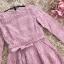 เดรสผ้าลูกไม้ถักสีชมพู แขนยาว เข้ารูปช่วงเอว กระโปรงทรงเอ เย็บจับจีบรอบเอว มีกระเป๋าที่กระโปรง thumbnail 10