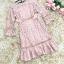 เดรสผ้าลูกไม้สีชมพูชายแขนเสื้อ เอว และชายกระโปรงคาดด้วยผ้าถักโครเชต์ ที่เอวด้านข้างมีผ้าให้ผูกเป็นโบว์ thumbnail 13
