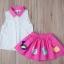 BabyCity ชุดเสื้อพริ้วไหวกระโปรงลายลูกเจี๊ยบ Pink thumbnail 3
