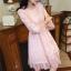 เดรสผ้าลูกไม้เนื้อดีสีชมพูโอรส แขนยาวสี่ส่วน ปลายแขนเสื้อ และชายกระโปรง แต่งด้วยผ้าชีไหมแก้วสีชมพูอัด thumbnail 11