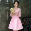 เดรสตัวเสื้อผ้าถักโครเชต์ลายดอกไม้ สีชมพู กระโปรงเป็นผ้าคอตตอนผสมสีชมพู มีลายในตัวเนื้อผ้า thumbnail 4