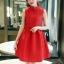 เดรสแขนกุดสีแดง ตัวเสื้อผ้าถักโครเชต์ลายดอกไม้ คอจีน เดรสเข้ารูปช่วงเอว thumbnail 6