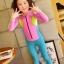 ชุดว่ายน้ำเด็กบอดี้สูท แบบแขนยาว ขายาว ท่อนบนสีชมพูแถบเหลือง ท่อนล่างสีฟ้า มีซิบหน้า น่ารักสดใส thumbnail 1