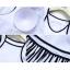 ชุดว่ายน้ำวันพีชสายเดี่ยวสีขาว ตัดขอบสีดำ กระโปรงลายทางสีขาวดำ มีกางเกงขาสั้นสีดำ thumbnail 6