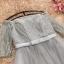 เดรสออกงานสุดหรู สีเทา ตัวเสื้อผ้าโปร่งแต่งด้วยดิ้นเล็กๆๆสีเงิน เปิดไหล่ แต่งโบว์ที่เอว thumbnail 6