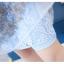 เดรสตัวเสื้อผ้าลูกไม้ สีฟ้า คอจีน กระโปรงด้านนอกซ้อนด้วยผ้าไหมแก้วแต่งผ้าลายดอกไม้สีฟ้า เทา thumbnail 14