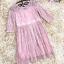 เดรสผ้าลูกไม้เนื้อดี ลายเส้นของผ้าลูกไม้ตามแบบ สีชมพู แขนยาวสามส่วน คาดที่เอวด้วยริบบิ้นแถบกว้าง thumbnail 13