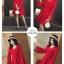 เดรสผ้าโพลีเอสเตอร์ผสมสีแดง แขนยาว ดีไซน์เก๋ที่ปลายแขนเสื้อ แหวกสูงขึ้นมา thumbnail 10