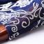 เดรสผ้าโพลีเอสเตอร์สีน้ำเงิน แต่งไหล่ หน้าอก แขนเสื้อ ด้วยผ้ามุ้งปักด้ายสีเหลือบทอง thumbnail 13