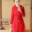 เดรสผ้าลูกไม้เนื้อดี สีแดงแขนยาว ทรงตรง คอเสื้อระบายผ้าลูกไม้ มาพร้อมสายผูกเอวเหมือนแบบ thumbnail 1