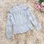 เสื้อผ้าลูกไม้เนื้อดีสีเทา แขนยาว คอปก คอเสื้อด้านหน้า แต่งด้วยผ้าโปร่ง และประดับด้วยผ้าถักโครเชต์ thumbnail 12