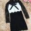 เดรสผ้าลูกไม้เนื้อดีตัวเสื้อสีขาว แขนเสื้อและกระโปรงผ้าลูกไม้สีดำ thumbnail 14