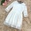 เดรสผ้าลูกไม้เนื้อดีสีขาว แขนยาวสี่ส่วน ปลายแขนเสื้อ และชายกระโปรง แต่งด้วยผ้าชีไหมแก้วสีขาวอัดพลีตเลต thumbnail 14