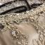 เดรสยาวออกงาน ตัวเสื้อผ้าลูกไม้ปักลายสีน้ำตาลทอง คอเสื้อและตัวชุดด้านหน้า แต่งด้วยคริสตรัลใสและมุกสี thumbnail 14