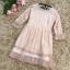 เดรสผ้าลูกไม้เนื้อดีสีชมพูโอรส แขนยาวสี่ส่วน ปลายแขนเสื้อ และชายกระโปรง แต่งด้วยผ้าชีไหมแก้วสีชมพูอัด thumbnail 13