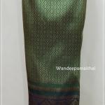 ผ้าถุงไหมสำเร็จรูป สีเขียว
