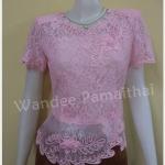 เสื้อลูกไม้ ชายผ้าแก้ว เบอร์ M เล็ก สีชมพู อกเสื้อวัดเต็ม34 นิ้ว