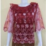 เสื้อลูกไม้แก้ว คอปกระบายลูกไม้แก้ว ซับด้วยผ้าต่วนอย่างดี ซิปหลัง สีแดง แขน3ส่วน เบอร์ XXL
