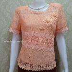 เสื้อลูกไม้ แขนสั้น สีส้ม เบอร์ L อกเสื้อวัดเต็ม 38นิ้ว