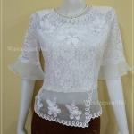 เสื้อลูกไม้เนื้อนุ่ม ใส่สบาย แขน3ส่วน สีขาว แต่งผ้าออแกนดี้ เบอร์ XL ใหญ่