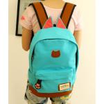 กระเป๋าเป้ทรงสวยๆ ตัดกับหนังสีน้ำตาล สีสวยไม่ตกเทรนด์ - ฟ้า