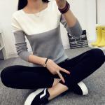 เสื้อยืดแขนยาวแฟชั่น สีทูโทนสุด cool ทรงเข้ารูป กระชับสัดส่วน น่าใส่มากๆ คร่าสาวๆ - ขาวเทา