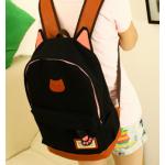 กระเป๋าเป้ทรงสวยๆ ตัดกับหนังสีน้ำตาล สีสวยไม่ตกเทรนด์ - ดำ
