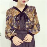 เสื้อแฟชั่นแขนยาว สไตล์สาวเกาหลี ผ้าโปร่ง นิ่ม เบาสบาย น่าสวมใส่รับหน้าร้อนเมืองไทย - เหลือง-น้ำเงิน