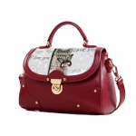 กระเป๋าแฟชั่นทรงสวยเก๋ๆ ในแบบสาวเกาหลี ตกแต่งอย่างประณีตทุกจุด มีให้เลือกถึง 4 สี - แดง