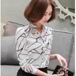 เสื้อเชิ้ตแขนยาว เล่นลายแบบทูโทน สวยลงตัวไม่ว่าจะจับคู่กับกางเกงหรือกระโปรง - ขาว
