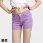 กางเกงยีนส์ขาสั้นสีสันโดนๆ แฟชั่นสีสันสดใส สำหรับสาวๆ ได้ใส่ชิลๆ โชว์ขาเรียวๆ SET1 - ม่วง